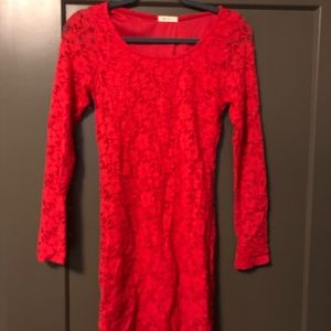 Everly red long sleeve lace dress